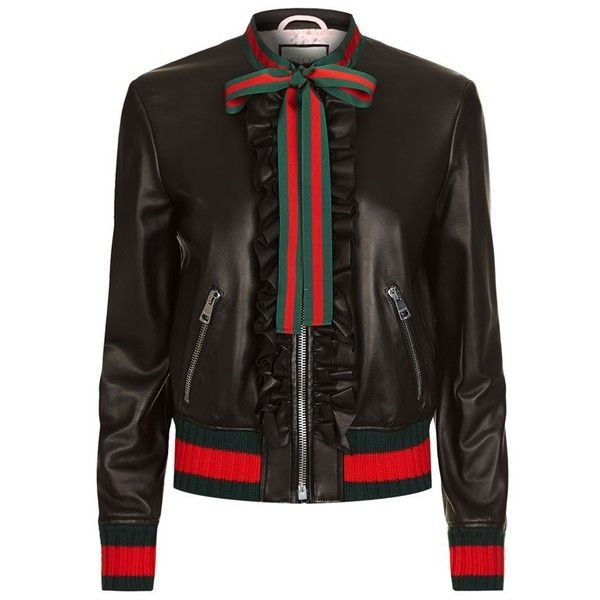 Gucci Ruffled Leather Bomber Jacket ($2,555) ❤ liked on Polyvore featuring outerwear, jackets, flight jacket, gucci, genuine leather jackets, bomber style jacket and 100 leather jacket