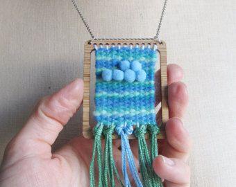 Mini tejido telar tapiz colgante collar con lanzadera
