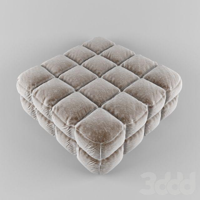 3d модели: Другая мягкая мебель - Пуф капитоне