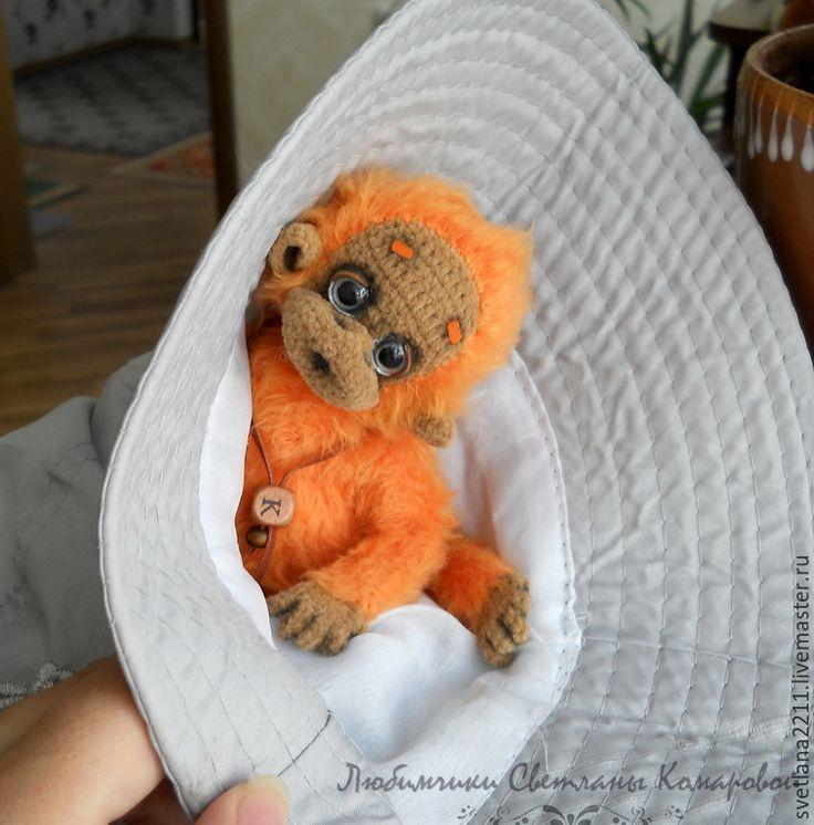 Купить Кеша - рыжий, Светлана Комарова, обезьянка, обезьяна, вязаная обезьянка, орангутанг, год обезьяны