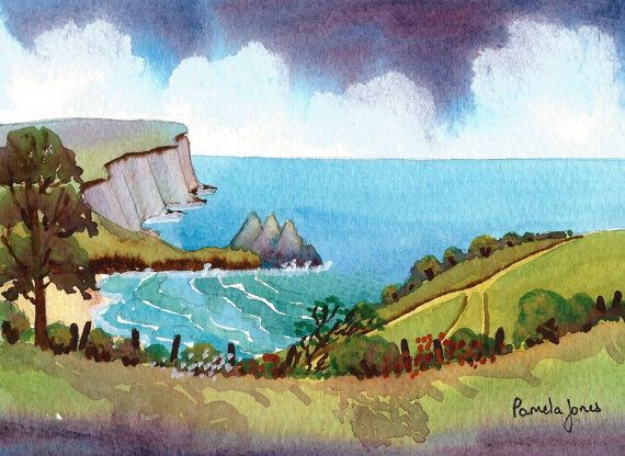 Original Watercolour Three Cliffs Bay by Pamelajonesartstudio, £20.00