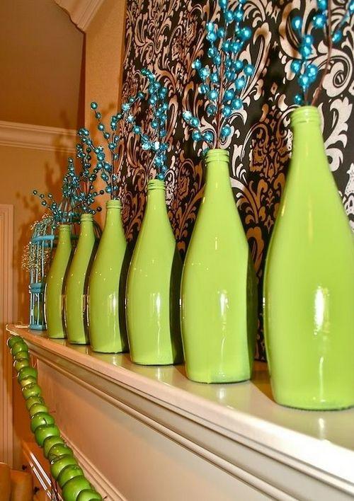 идея концепция декор стеклянных бутылок фото дочь