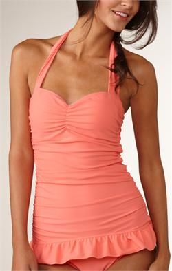 Peach conservative swimsuit! FINALLY a modest swimsuit that is actually cute, not made for seventy year old women! <3 it