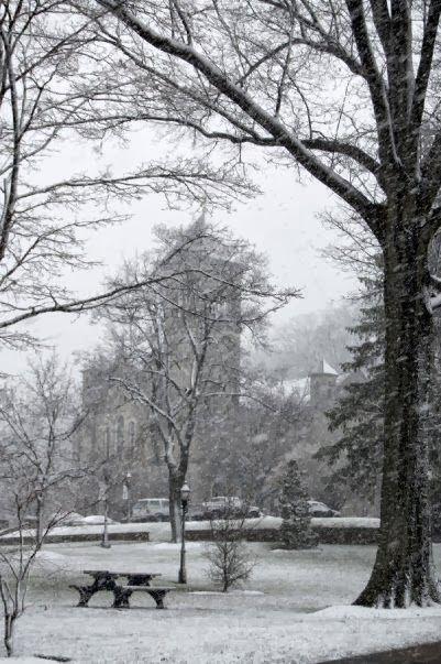 Snowfall at Mount St. Mary's University