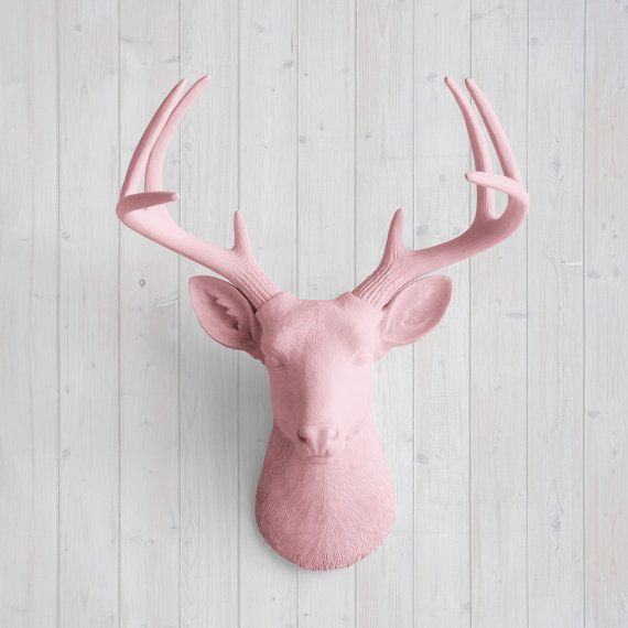 Wall Charmers™ Deer in Blossom - Faux Head Pink Fake Animal Resin Ceramic Taxidermy Stag Antler Fauxidermy Decorative Mount Mounted Buck Art