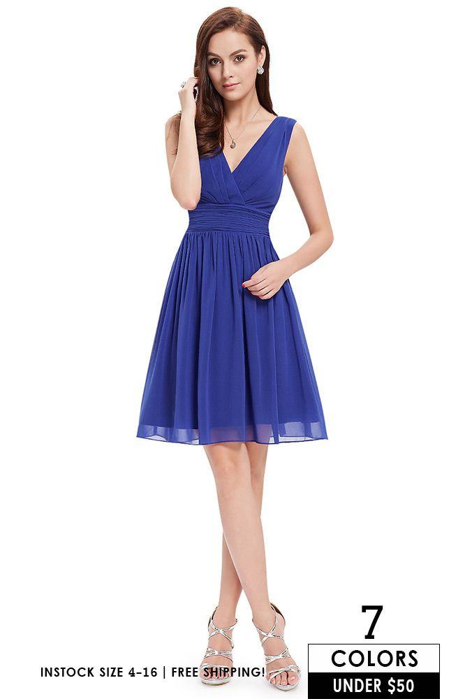 A Line V Neck Short Chiffon Bridesmaid Dress With Ruffles Ep03989bd