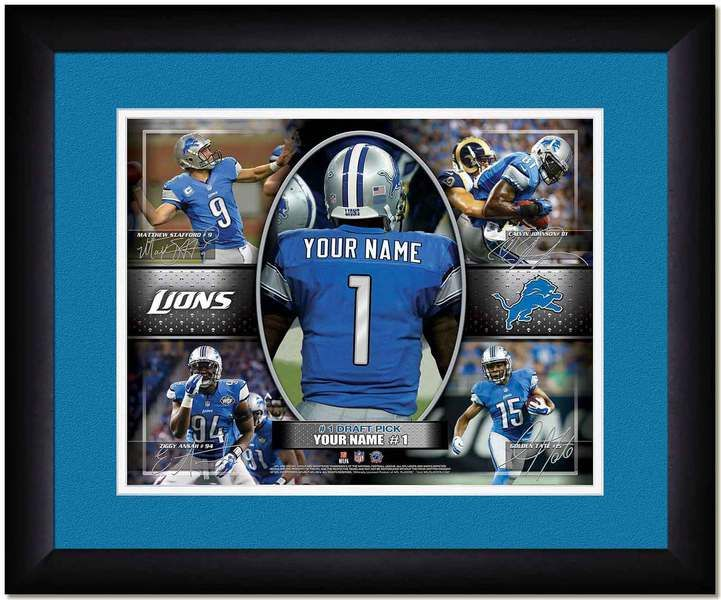 Your Name on a Detriot Lions jersey as the #1 Draft Pick, with other football star players of your favorite NFL team, Framed Poster