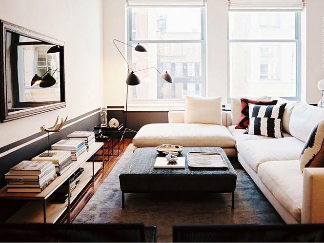 modern living room - Serge Mouille lamp.