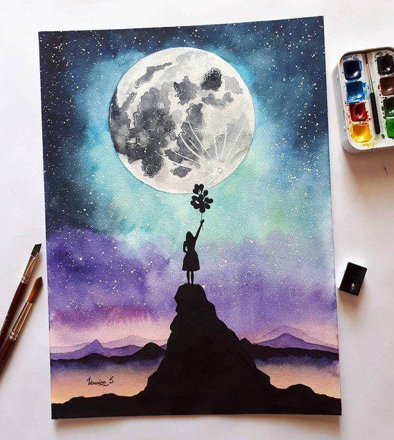 Moon Girl Watercolor painting original – galaxy wall art home decor watercolour interior design decor