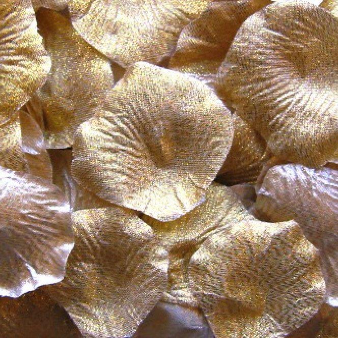 Silk Rose Petals in Metallic Light Gold - 100 Piece Bag