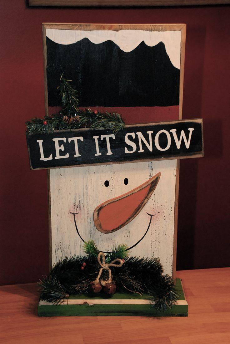Primitive christmas ideas to make - Let It Snow Wood Snowman