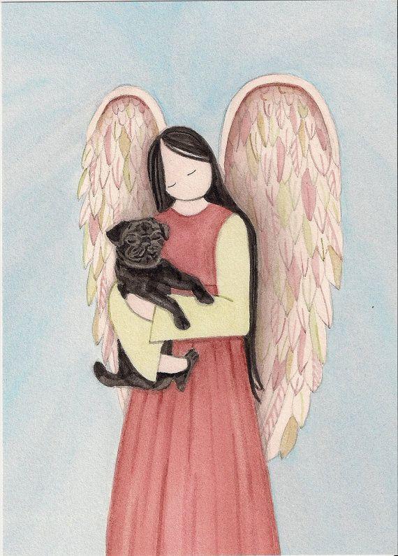 Perro pug negro acunado por Ángel / Lynch por watercolorqueen