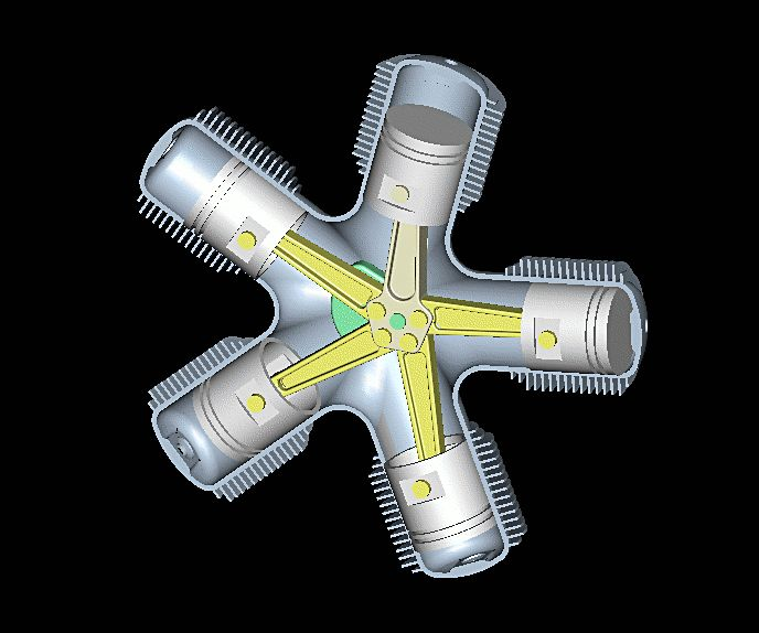 Звездообразный двигатель анимация