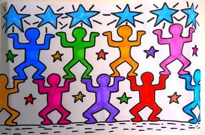 418 best famous artist lesson plan ideas images on for Keith haring figure templates