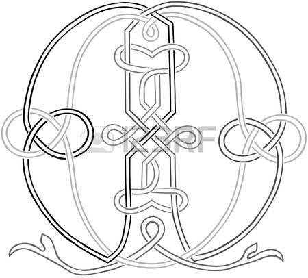 A Celtic Knot-work Capital Letter M Stylized Outline Illustration