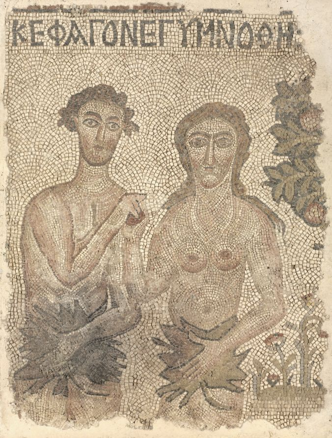 """Fragment of a Floor Mosaic: Adam and Eve,late 400s-early 500s,early Byzantium, Northern Syria, Byzantine period.This mosaic panel representing the Fall of Adam and Eve once formed part of a much larger mosaic decorating the floor of an early Byzantine church in northern Syria. Here, Adam and Eve are portrayed sharing the forbidden fruit while covering themselves with large leaves. At the top of the panel, a Greek inscription reads, """"And they ate and they realized they were naked"""" (Gen…"""