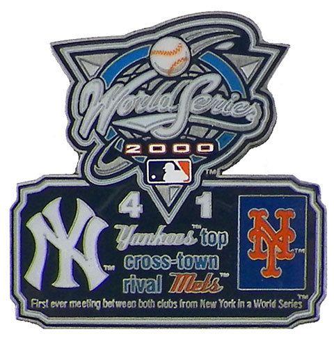 Classic Pins - 2000 World Series Commemorative Pin - Yankees vs. Mets, $9.95 (http://www.classicpins.com/2000-world-series-commemorative-pin-yankees-vs-mets/)