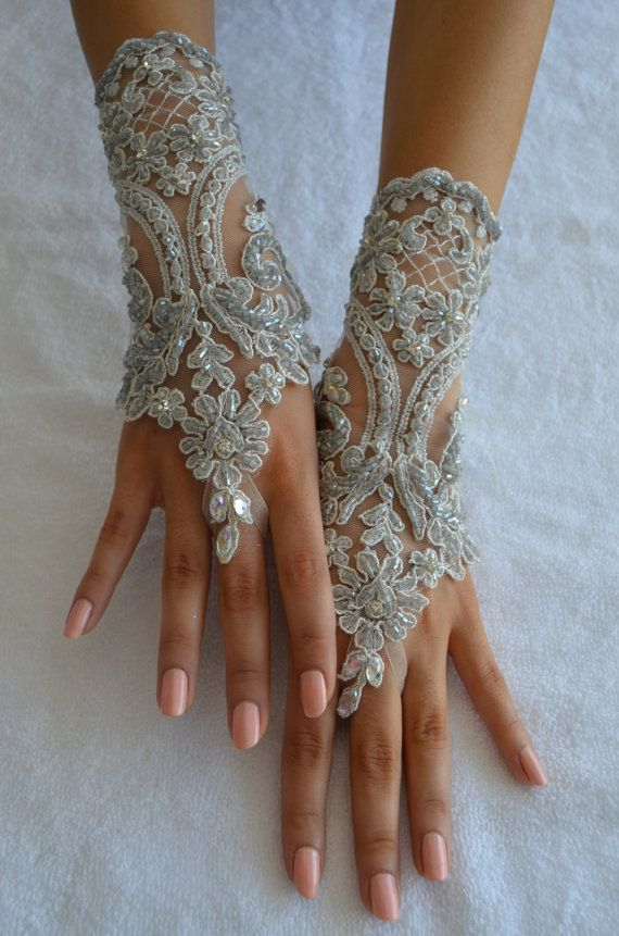 ivory silver wedding glove Bridal Glove ivory lace by UnionTouch
