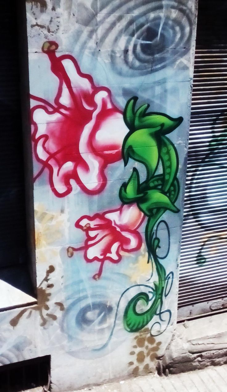 Grafiti of a flour in valparaiso , streetart, painting, art