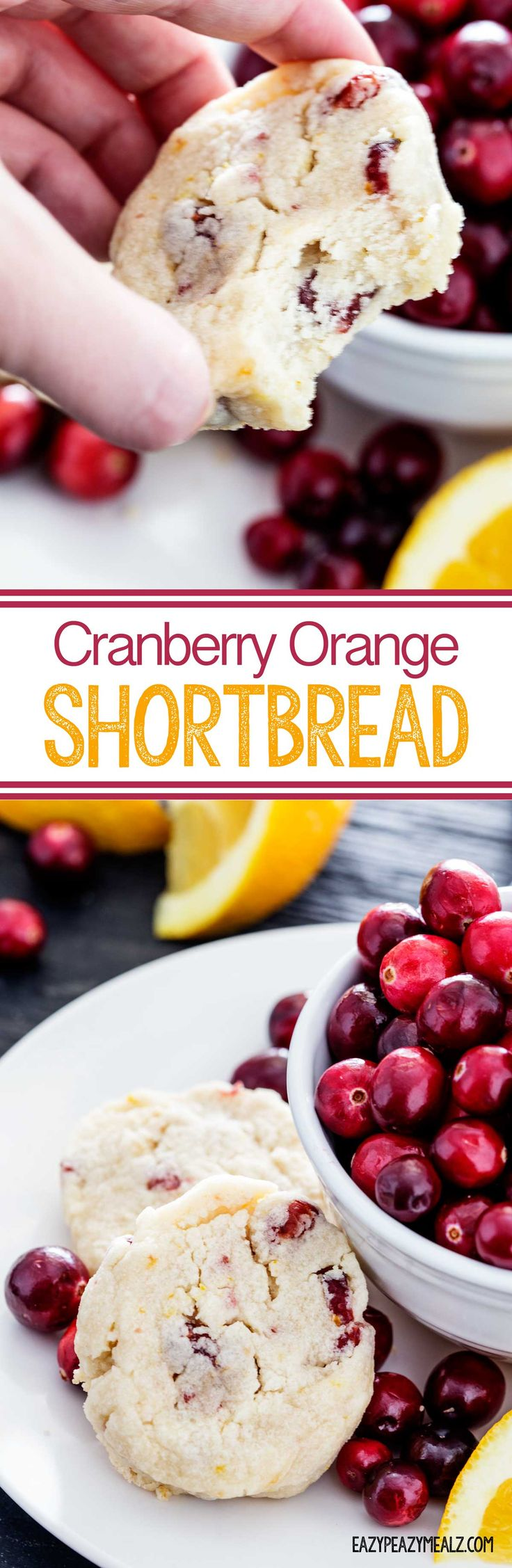 Cranberry Orange Shortbread is flavorful and easy to make, and a great treat to make ahead and freeze to help you avoid some of the chaos during the holidays.  #ad - Eazy Peazy Mealz