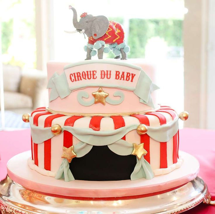 Circus baby shower party cake! See more party ideas at CatchMyParty.com!