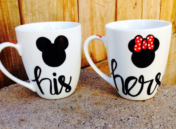 His and Hers  Mickey and Minnie coffee mugs set of by MakeLoveLive, $22.00