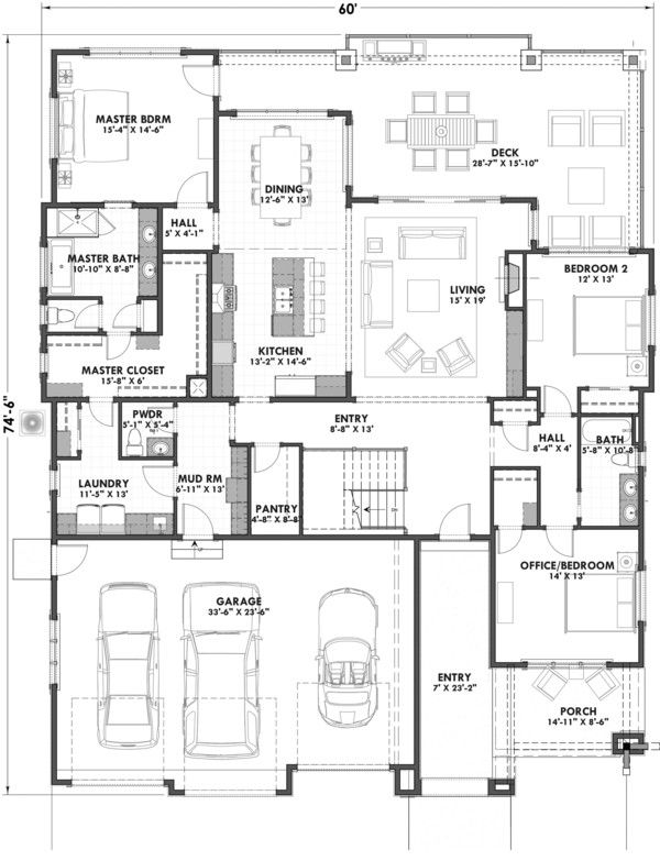 Ranch Style House Plan – 3 Beds 2.5 Baths 2459 Sq/…