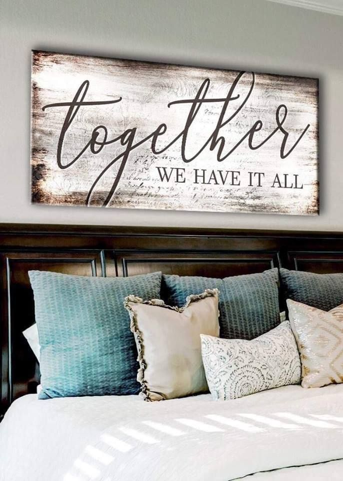 Couples Wall Art Together We Have It All Wood Frame Ready To Hang Home Decor Wall Decor Bedroom Bedroom Decor