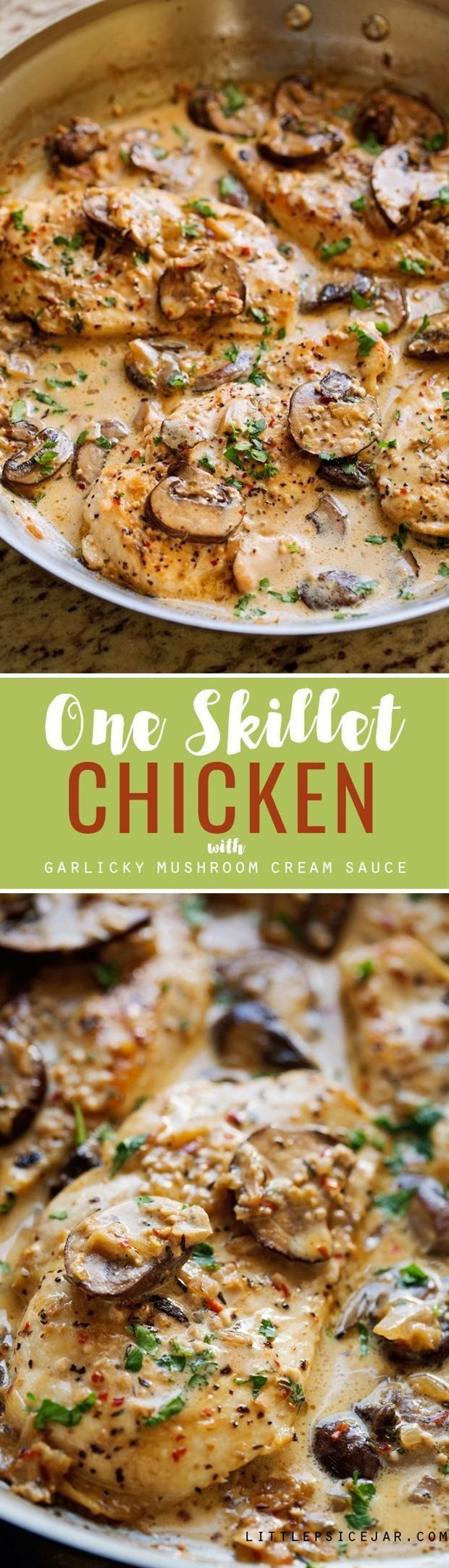 Ready in 30 minutes and perfect over a bed of pasta.\n\n INGREDIENTS\n 4 boneless skinless chicken breasts (or thighs)\n salt and pepper\n 1 cup chicken broth\n 1 tablespoon minced garlic\n ½ teaspoon red pepper flakes\n ½ teaspoon dried thyme\n 2 tablespoons olive oil\n 8 ounces baby bella (cremini) mushrooms, sliced\n ⅓ cup finely diced shallots (or red onions)\n 2 tablespoons butter\n ¼ cup heavy cream\n 2 tablespoons chopped parsley (or basil)