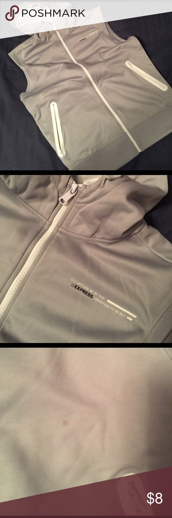 Men's Express Sleeveless Hoodie Men's Express grey sleeveless hoodie. Zip front, zip front pockets. Fleece lined inside. Size S. Tiny stain near pocket (see pic). Express Jackets & Coats Performance Jackets