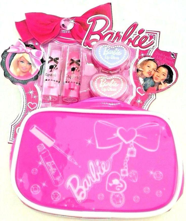 barbie lipstick lip gloss make up bag set new girls age 4 5 6 7 8 9 10 11 12
