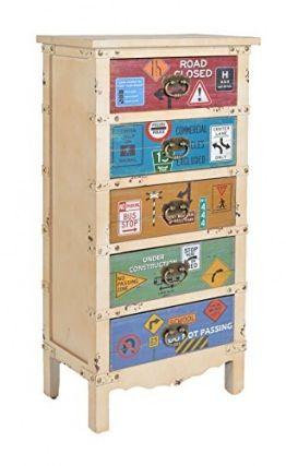 ts-ideen Kommode Hoch-Schrank Regal Flur Bad Wohnzimmer Container Industrie Design Shabby Vintage Beige 96 x 50 cm