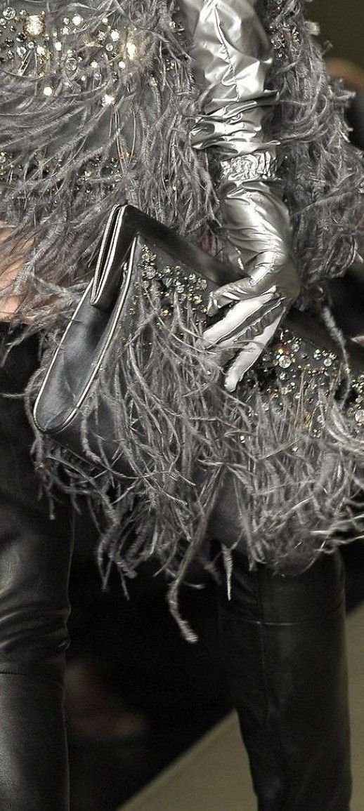 Krizia - Silver gloves & Purse against black leather. So chic♥✤ | Keep Smiling | BeStayBeautiful