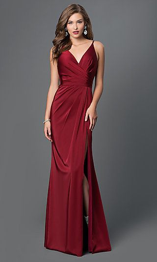 c14cff3f4aa2 Faviana V-Neck Ruched Open-Back Floor Length Dress in 2019