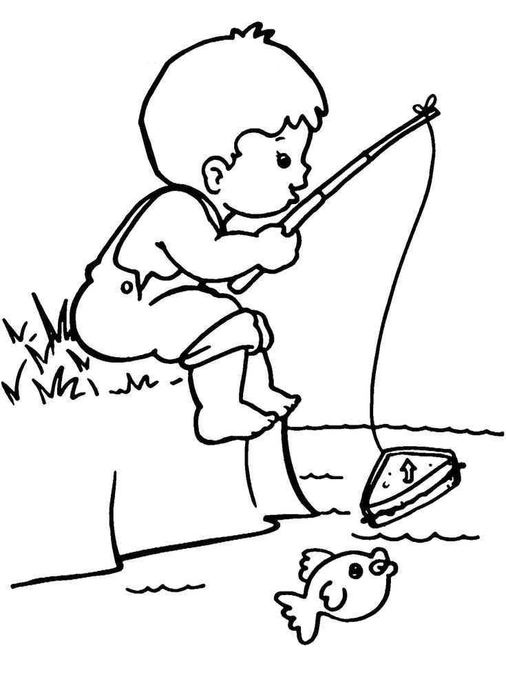 Fisherman Boy Coloring Page