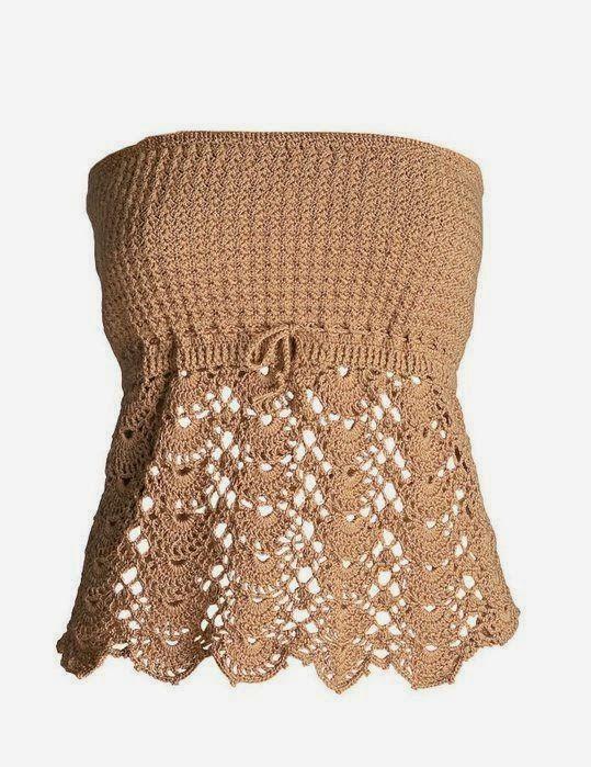 Um lindo modelo de tomara-que-caia em crochê..  Uma peça muito feminina!  Não foi feito por mim,encontrado na net através de mecanismos de ...