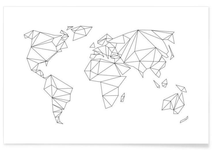 Geometrical World - white en Affiche premium par Studio Nahili | JUNIQE