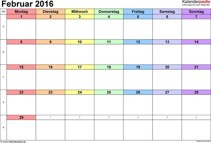 Kalender Februar 2016 (Querformat) als Excel-Vorlage