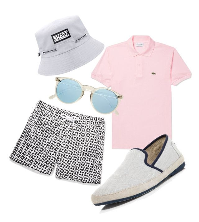 Men's Beach Outfit #9 by heybigtrender on Polyvore featuring Frescobol Carioca, Lacoste and TOMS