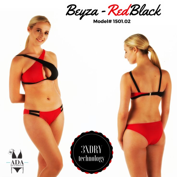 BEYZA - TWO PIECE BIKINI SWIMWEAR- RED/BLACK... All our products have 3XDRY technology that provides the comfort by drying 8 times faster than regular swimwear brands.  UV filtered fabrics give extra protection to your skin.