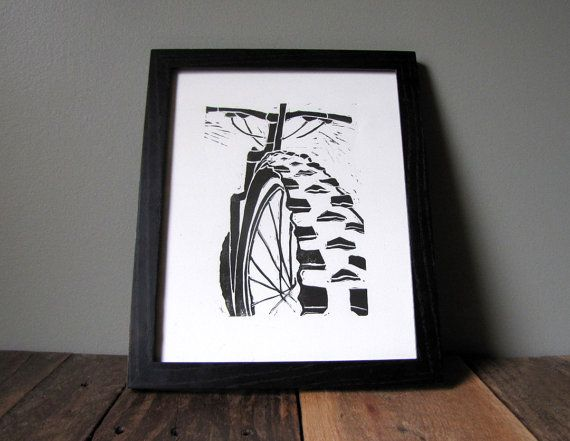 Mountain Bike Art Linocut Relief Print - Printmaking Mountain Biking Trail Bicycle