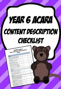 Year 6 Content Description Checklists
