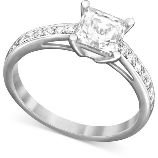 Swarovski Rhodium-Plated Square-Cut Clear Crystal Ring (130 AUD) ❤ liked on Polyvore featuring jewelry, rings, no color, swarovski rings, pave ring, pave jewelry, pave band ring and rhodium plated jewelry