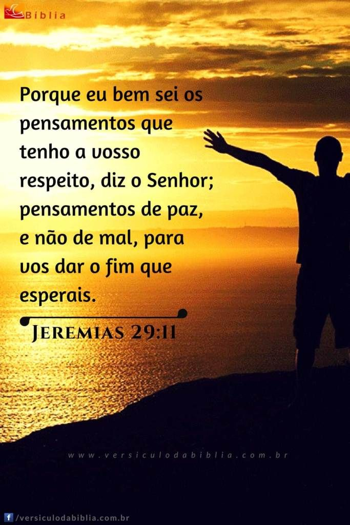 Versículo do Dia  Jeremias 29:11 -  Porque eu bem sei os pensamentos que tenho a vosso respeito diz o Senhor; pensamentos de paz e não de mal para vos dar o fim que esperais.  Jeremias 29:11  The post Versículo do Dia  Jeremias 29:11 appeared first on Versículo da Bíblia.