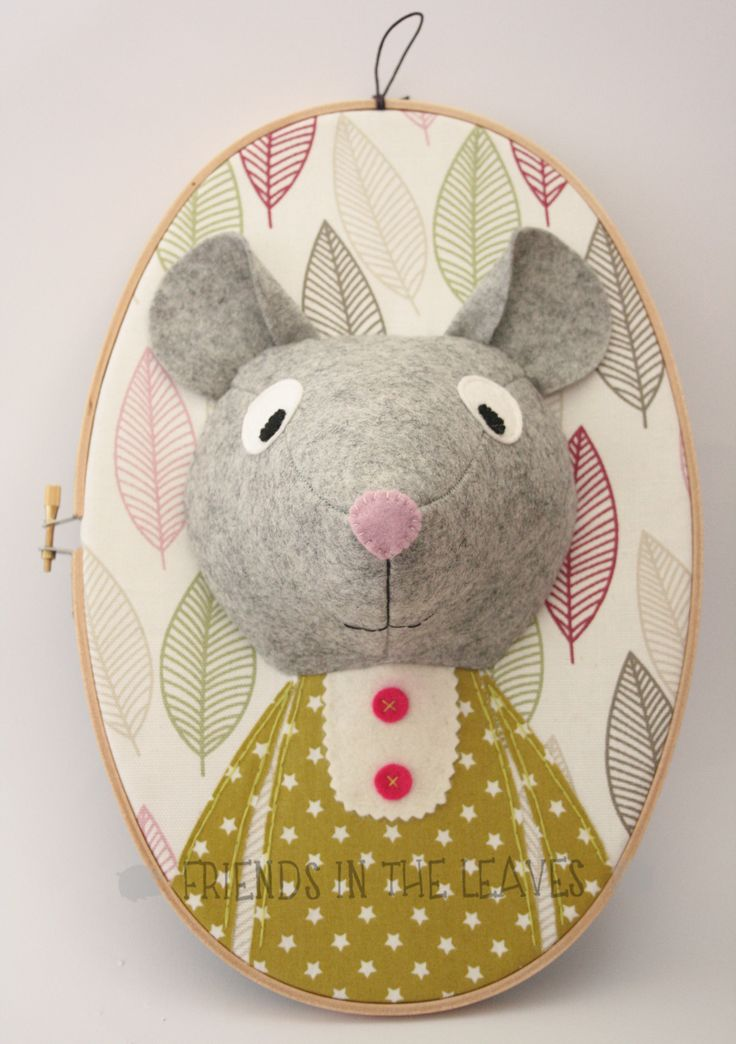 Ms Lizzie Mouse 3D embroidery hoop portrait by Friends in the Leaves. Nursery room decoration.