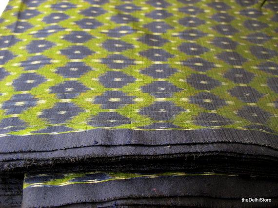 pure silk yarn dyed handwoven ikat fabric sold by by
