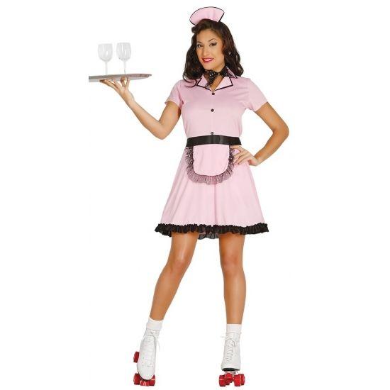 Roze serveerster kostuum. Dit sexy pakje bestaat uit een jurkje, haarband en sjaaltje. Materiaal: 100% polyester.