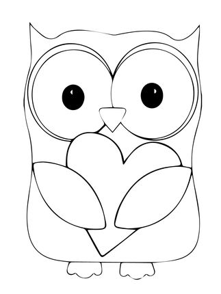 Click to see printable version of Valentine Day Owl Hugging a Heart coloring page