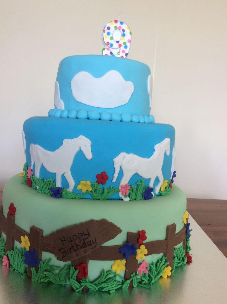 Horse themed birthday cake for girl turning 9