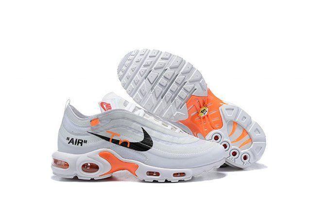 Men S Off White Nike Air Max Tn White Black Total Orange Boys Running Shoes Nike Air Max White Nike Air Max Tn Nike Air Max